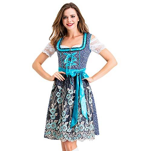 Business Pferd Kostüm - Fascino-M』Damen Midi Trachten-Kleid für Oktoberfest 3 TLG, mit Schürze und Bluse und Kleid Sets, Dienstmädchen Mädchen Kostüm Cosplay Uniform