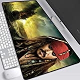 JINYIJUN Tapis de souris pour jeux vidéo, tapis de souris animé, tapis de souris Johnny Depp Jack Captain Caribbean Pirates Tapis de souris pour ordinateur de bureau 800 x 300 x 3 mm, 17, 800*300*3mm