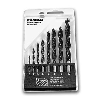 Famag CV Wood Twist Drill Bit Set 8Piece Set in Plastic Box