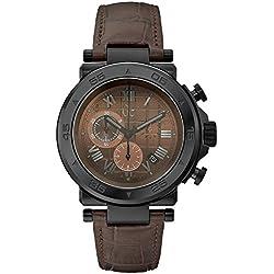 Guess X90003G4S - Reloj con correa de caucho para hombre, color marrón/gris