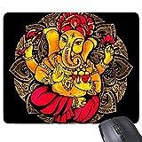 Buddhismus-Religions-buddhistische Schwarze rote gelbe Elefant-Lotus-Runde Illustrations-Muster-Rechteck-Rutschfeste GummiMousepad Spiel-Mausunterlage