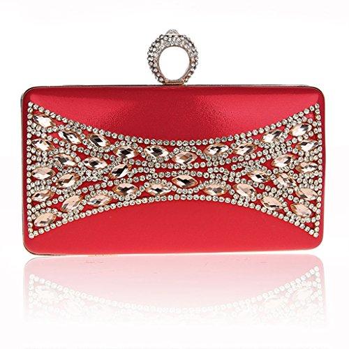 Il nuovo anello di diamanti mini pochette banchetto pacchetto del sacchetto di sera di modo vestito bag sposa ( Colore : Nero ) Rosso