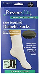 Activa Pressure Lite Diabetic Socks with Light Energizing Calf Length, Black, Small, 0.04 Pound