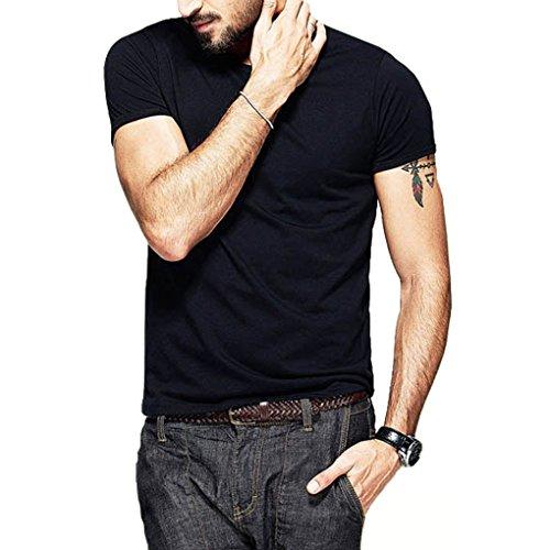 Landove t shirt manica corta uomo ragazzo maglietta estate slim fit collo rotondo in cotone casual basic t-shirt top sportive camicia tinta unita elegante