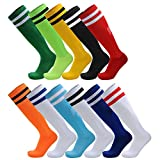 AD Taylor Sportsocken / Kniestrümpfe, unisex, gestreift, für Football / Fußball / Hockey, für Erwachsene und Kinder, 2er-Packung, White/Blue Stripe, Adults/UK 6-11(EUR39-44)