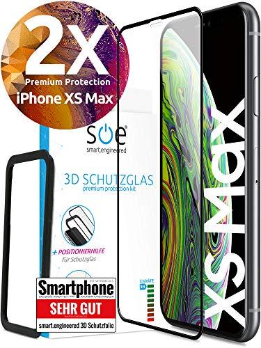 3D Schutzglas 9H Fullscreen [2 Stück] kompatibel mit iPhone XS Max [Panzerglas-Folie] Premium Glas-Schutz, Schablone-Installationshilfe, Hartglas, Hüllenfre&lich, volle Abdeckung, Transparent