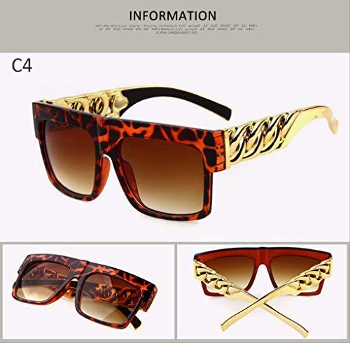 MJDL Mode Gold Metallkette Kim Kardashian Beyonce Sonnenbrille Vintage Hip Hop Sonnenbrille C4