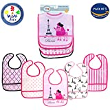 Wishkey Plastic Waterproof Multicolor Printed Velcro Feeding Bibs With Pocket For 6 Months To 1 Years Baby Girl Set Of 5