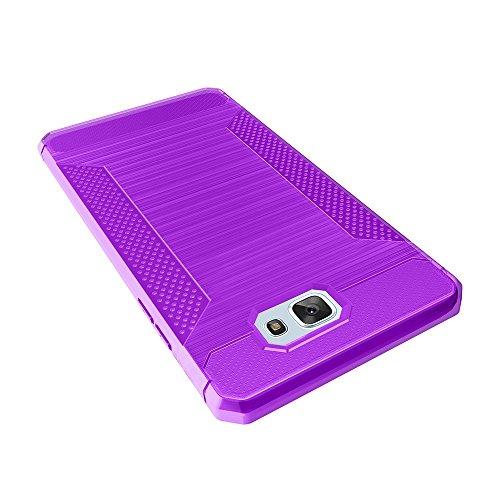 Für Samsung Galaxy J5 Prime Case gebürstet Lines Texture Cartoon Faser Durable Anti-Rutsch TPU Cover Schock Absorbtion Schutzmaßnahmen zurück Deckung ( Color : Black ) Purple