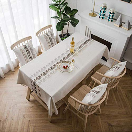 Songhj foglia di ricamo in lino di cotone rettangolo impermeabile tovaglia da pranzo tovaglia da cucina tovaglia da cucina per feste da matrimonio a 135x300cm