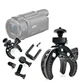 DURAGADGET Soporte universal tipo pinza para manillar de bicicleta para Videocámara Sony Handycam FDR-AX53   HDRAS50B.CEN   HDRCX625B.CEN   SEREE HDV-S5