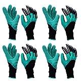 yardsky 4 Paar Wasserdichten Gartenhandschuhe Rechtshand mit Krallen Garten Werkzeug Krallenhandschuhe Handschuhe mit Klauen