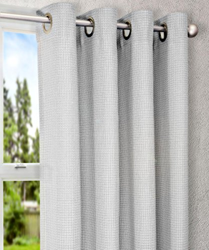 Ellis Vorhang Landis Mini-Check Strukturgewebe Tülle Top Gefüttert Vorhang-Panel, 54von 84Zoll, Taupe, grau, 52 x 63 Panel - Gefüttert-panels
