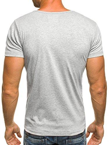OZONEE STEGOL 999 Herren Basic T-Shirt mit Rundhals Kurzarm - freie Farbwahl Grau