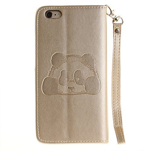 iPhone Case Cover Solid Color 3D niedlichen Panda geprägt PU-Leder Tasche Cover mit Lanyand Card Slots für IPhone 6S Plus ( Color : 4 , Size : IPhone 6S Plus ) 3