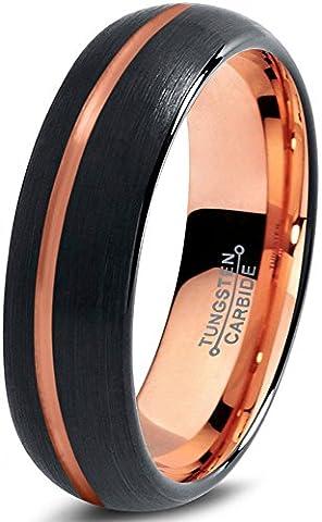 Tungsten Wedding Band Ring 6mm for Men Women Black & 18K Rose Gold Offset Line Dome Brushed Polished Lifetime GuaranteeSize 64