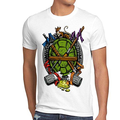 style3 Hero Turtle T-Shirt Herren Turtles Teenage Schildkröte Comic Mutant, Farbe:Weiß, Größe:4XL