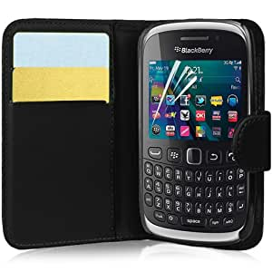 Supergets® Blackberry Curve 9320 Wallet Side Flip Case Covers Screen Protector , Touch Screen Stylus And Polishing Cloth Black