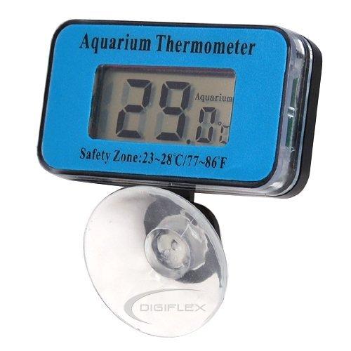 DIGIFLEX Digitales LCD-Thermometer für Aquarium-Temperatur mit Batterien und Saugnapf