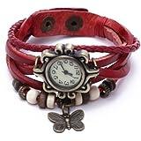 TOOGOO(R) Weave Wrap Around Leather Bracelet Lady Woman Wrist Watch (Red Butterfly)