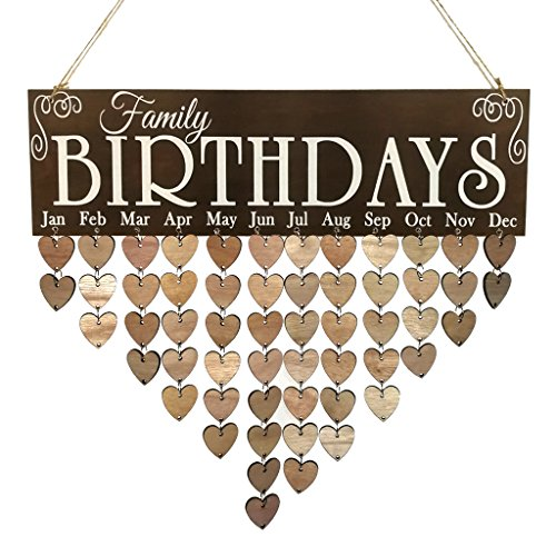 Baoblaze Geburtstag Kalender aus Holz - Family Birthdays