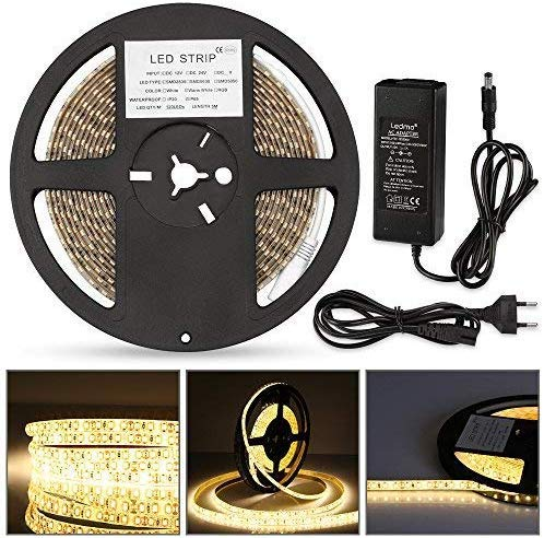 LEDMO Led Strip Streifen 5M Warmweiss Led Band,IP65 Wasserdicht Led Stripes SMD2835 600 Leds 15LM/LED Led Lichtband Inkl 12V 5A Led Stripes Netzteil Adapter CRI80,Haus Dekoration