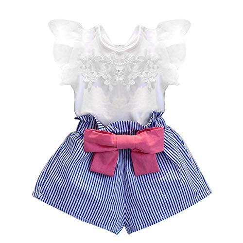 e Kleinkind Kind Baby Mädchen Outfits Spitze Kurzarm T-shirt + Bowknot Shorts Set (Size : 3-4T) ()