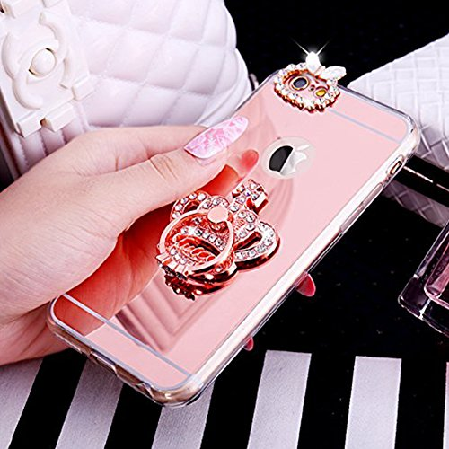 Paillette Coque pour iPhone 6/6S,iPhone 6S Coque Silicone Étui Ultra Mince Housse, iPhone 6 Souple Coque Etui en Silicone, iPhone 6/6S Silicone Case Soft TPU Cover, Ukayfe Etui de Protection Cas en ca couronne impériale-Or Rose