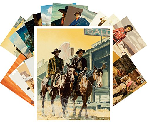 Postkarten 24pcs Vintage Western Cowboys Indians Wild West by Stanley Borack and George Gross (Western-art-poster)