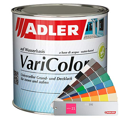 ADLER Varicolor 2in1 Acryl Buntlack für Innen und Außen - 750ml - Wetterfester Lack und Grundierung für Holz, Metall & Kunststoff - Seidenmatt, RAL6034 Pastelltuerkis