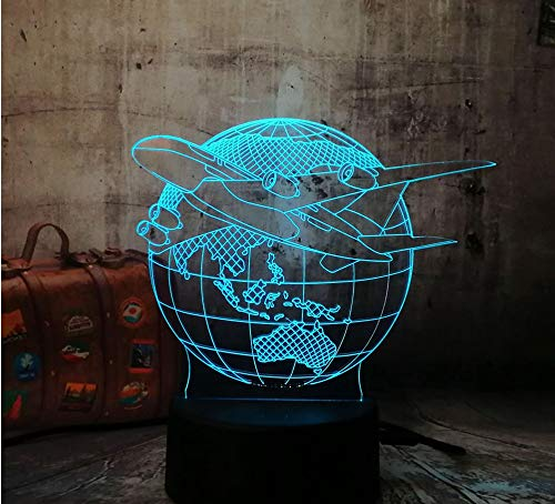 tlichter Erde Plan Flugzeug Erde Globus 7 Farbwechsel Kinder Kinder Tisch Schreibtisch Dekoration Halloween Weihnachten ()