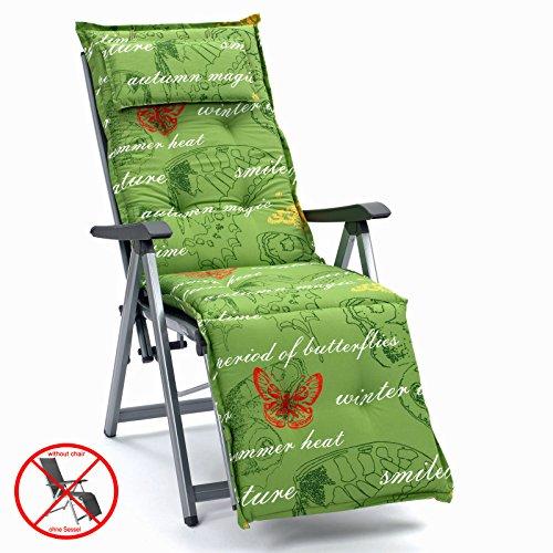 Preisvergleich Produktbild Auflagen mit Kopfpolster für Relax Liegestuhl Ibiza 40240-215 Schmetterling grün (ohne Relax)