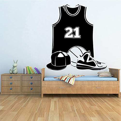 Basketballausrüstung Wandaufkleber Wohnzimmer Schlafzimmer Wohnkultur Zubehör Zimmer wasserdichte Wandkunst Aufkleber Wandbild 58x63cm