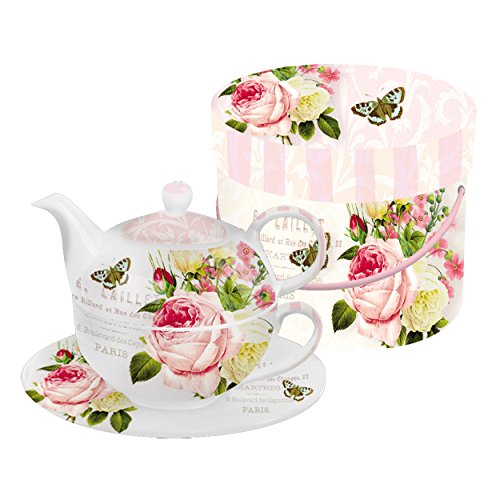 PPD Jardin Rose Tea-for-One-Set, Tee Kanne, Tasse in Einem, feines Bone China Porzellan, Weiß / Bunt, 400 ml / 260 ml, 602503 (Feine China-tee-tassen-set)