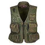 F.lashes Herren Outdoor Weste Tarnung Bekleidung mit vielele Taschen Ärmellos Fotographie Jagd Angeln Oberteile