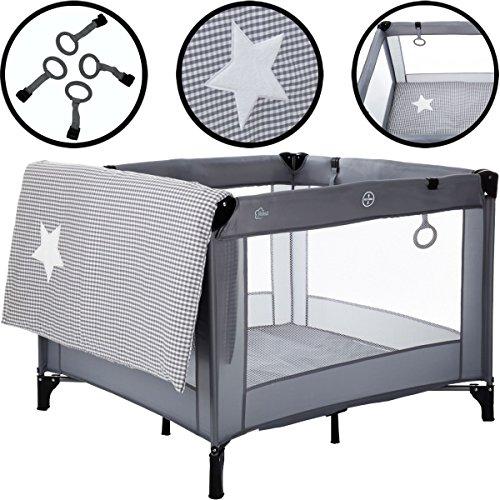 SET Laufstall / Spielstall GRAU mit Matratze (100% BAUMWOLLE) 100 x 100 cm (Inklusive Transporttasche) Baby Kind