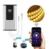 Wifi LED Controller,Teepao LED Dimmerschalter Funktioniert mit Alexa und Google Home, unterstützt IOS Android Smartphone App und Voice Controlled für alle DC 12V / 24V LED-Leuchten - Einfarbige