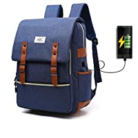 Laptop Backpack for Women Men,School College Backpack with USB Charging Port Fashion Backpack Fits 15 inch Notebook (Blue)