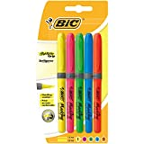 BIC Highlighter Grip Surligneurs Pointe Biseautée - Couleurs Assorties, Blister de 5