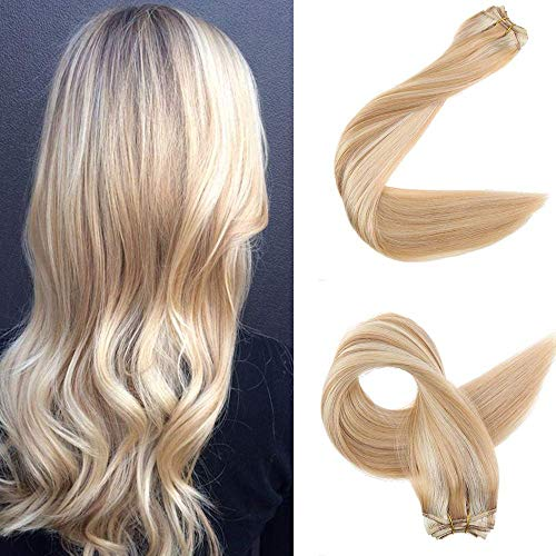 Easyouth Haarverlängerung Weaving Hair Weft Voller Kopf 18 Zoll 100g Pro Pack Farbe 24 Blondine Hervorgehoben Mit 27 Honig Blondine Brasilianisch Bundles Brasilianisch Menschliches Haar Gerade