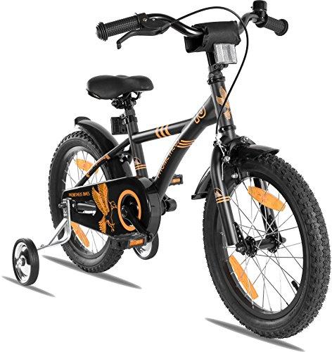 "PROMETHEUS bicicleta para niños 16 pulgadas color negro mate y naranja con ruedas de apoyo | Frenos de tiro lateral y freno de contrapedal | a partir de 5 años | 16"" BMX Edición 2017"