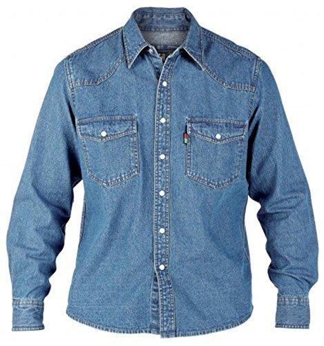 Camicia jeans da uomo duke london misura king stone wash top a manica lunga - slavati, xx-large