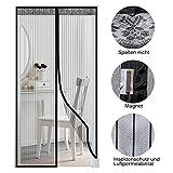 Tür-Fliegengitter Magnetverschluss Natürlicher Insektenschutz 100 x 220 cm licht- und luftdurchlässig Netzvorhang für Eingangstür schwarz