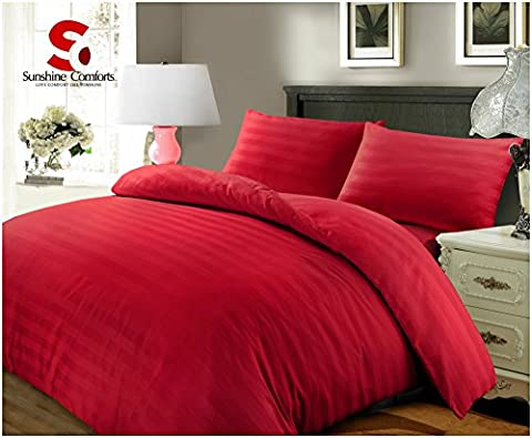 Sunshine Comforts® 100% Egyptian Cotton 500 Thread Count Satin Stripe Beautiful Duvet Cover Sets All Sizes (Double, Striped Red)