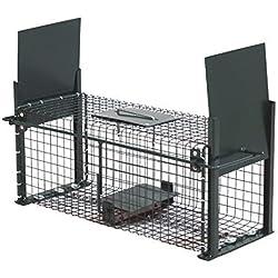 Moorland Safe 5006 Trampa para Animales Vivos - Cepos Todo Tipo de Animales 50x18x18cm - 2 Entradas - Alambre