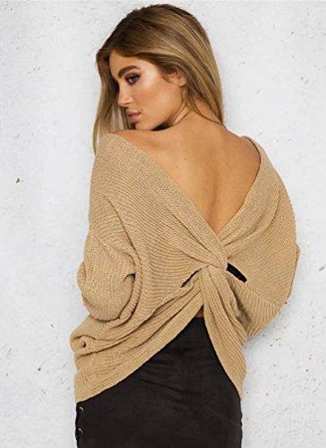 ZKOO Donna Maglieria Maglioni Manica Lunga V-Collo Croce Pullover Oversized Maglione Knitted Maglie Tops Autunno Inverno Giallo