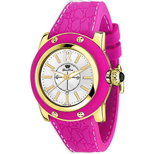 Glam Rock Women's Palm Beach 40mm Fuchsia Silicone Band Gold Plated Case Quartz Analog Watch GR40308FFF