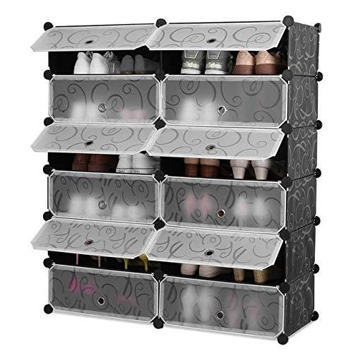 HOMFA Schuhregal Schuhschrank Regalsystem Kunststoff 12 Fächer DIY Schrank Schuhablage Aufbewahrung Badregal Allzweckregal Allzweckschrank91x36x105(6 gleiche Ebenen)