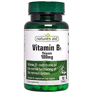Natures Aid Vitamin B1 Thiamin, 100 mg, 90 Tablets (Contributes to Normal Functioning of the Nervous System, Made in the UK, Vegan Society Approved) by Natures Aid