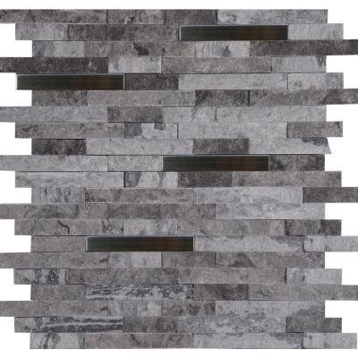 MS International Eclipse Interlocking 12 in. x 12 in. x 8 mm Metal Stone Mesh-Mounted Wall Tile - Lot of 5 sheets by Marble 'n things